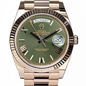 Rolex Day-Date 40mm Rose gold green dial unworn B&P 2020 sold # 421